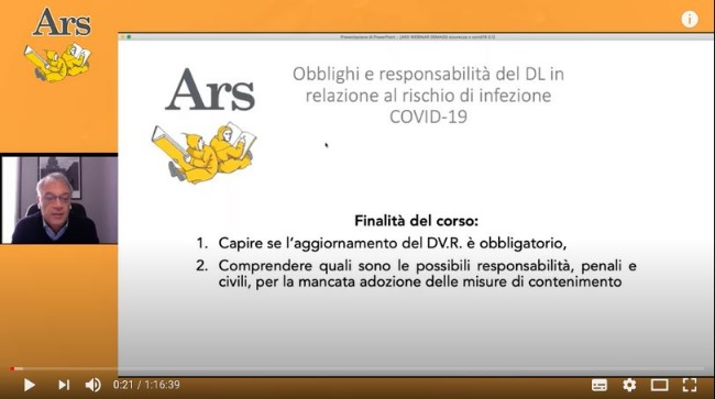 """I WebinARS - i webinar di ARS Edizioni informatiche:  """"Obblighi e responsabilità del Datore di Lavoro in relazione al rischio di infezione COVID-19"""""""