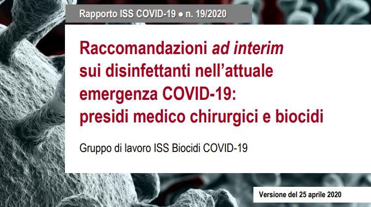 ISS: Raccomandazioni sui disinfettanti nell'attuale emergenza COVID-19