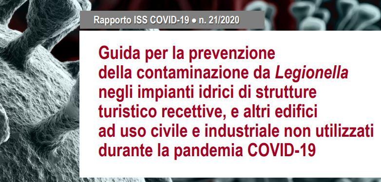 ISS: Guida per la prevenzione della contaminazione da Legionella negli impianti idrici, non utilizzati durante la pandemia COVID-19